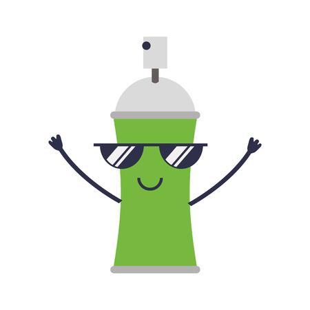 spray paint bottle kawaii character vector illustration design