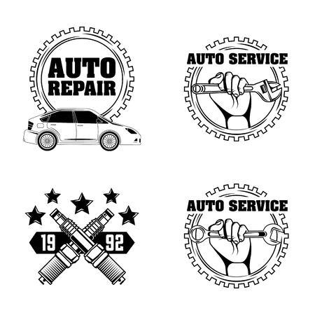 Reparación de automóviles de reparación de automóviles ilustración de vector de etiquetas de servicio Foto de archivo - 107069339