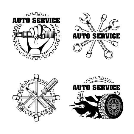 Reparación de automóviles de reparación de automóviles ilustración de vector de etiquetas de servicio Foto de archivo - 107069340