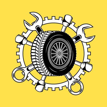 car wheel tire wrench tools repair service vector illustration Illustration
