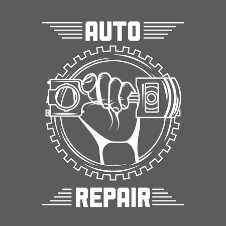 hand holding piston car auto repair on gear vector illustration red neon vector illustration Ilustração