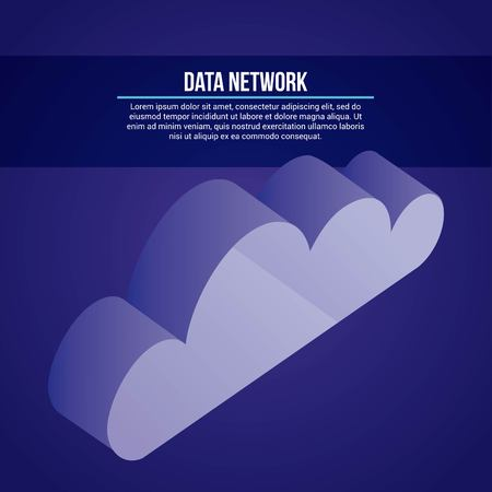 data network cloud safe security vector illustration
