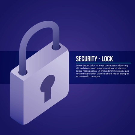 data network padlock security safe vector illustration