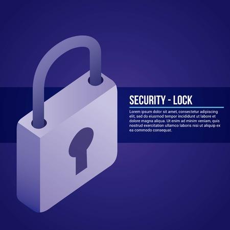 data network padlock security safe vector illustration