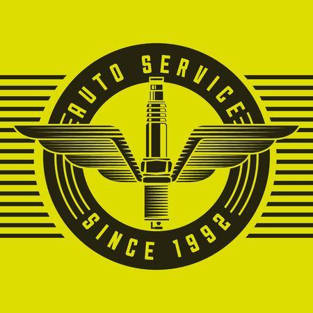spare parts spark plug emblem auto service vector illustration vector illustration Illusztráció