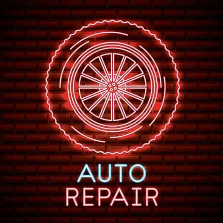 auto repair wheel car neon design vector illustration
