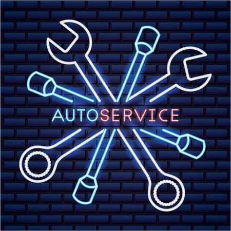 auto service wheel car part equipment vector illustration neon wall