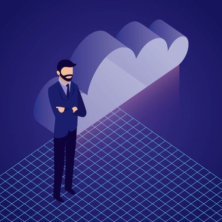 data network businessman crossed arms cloud save security vector illustration