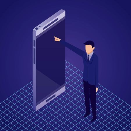 data network businessman male pointed smartphone screen vector illustration