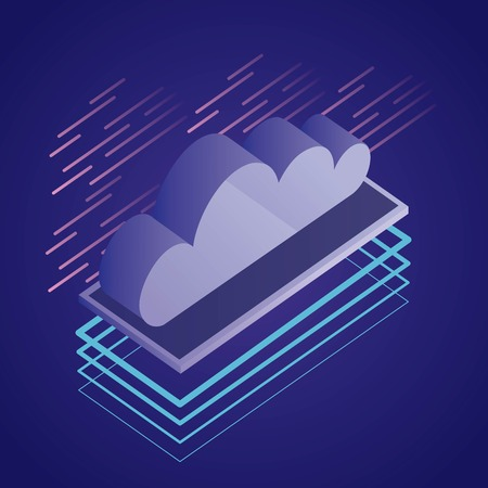 data network cloud safety digital technology vector illustration Иллюстрация