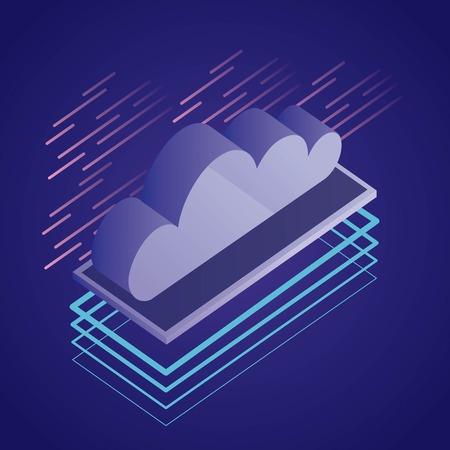 data network cloud safety digital technology vector illustration Illustration