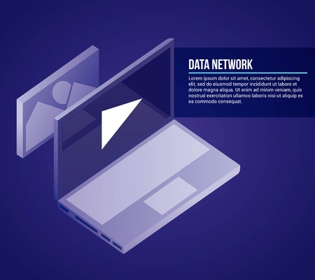 data network computer play video photo vector illustration