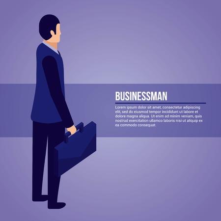 data network businessman holding portfolio vector illustration
