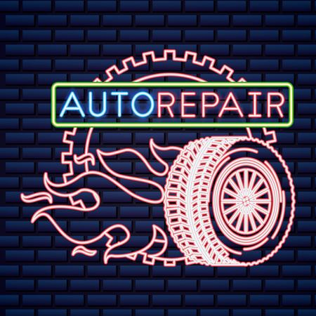 automotive industry wheel tire fire fast car repair neon vector illustration