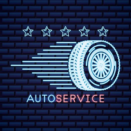automotive industry stars tire fast car service neon vector illustration