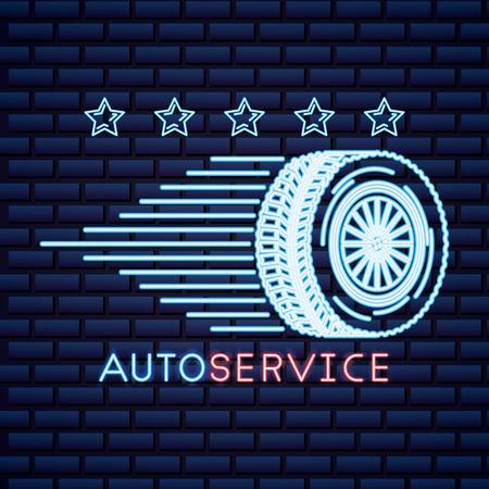 Automobilindustrie Sterne Reifen schnelle Autoservice Neon-Vektor-Illustration