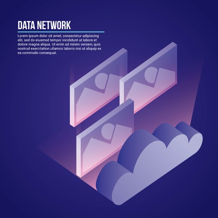 data network cloud safe photos security vector illustration Illusztráció