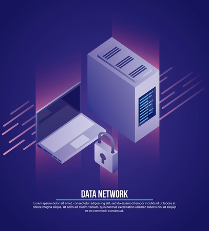 data network computer tower padlock security vector illustration