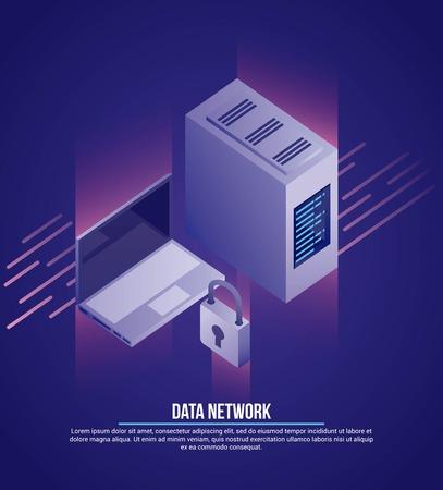 data network computer tower padlock security vector illustration