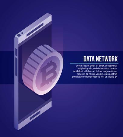data network smartphone coin bitcoin vector illustration