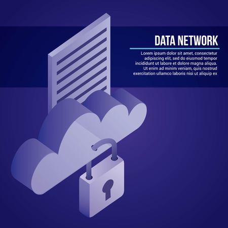 data network cloud padlock security document vector illustration