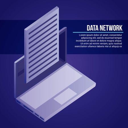 data network computer document information vector illustration Illustration