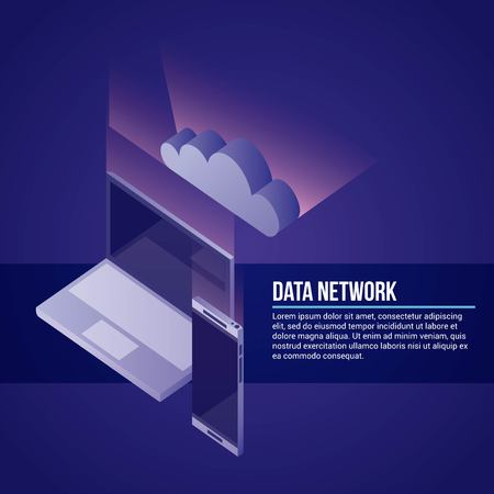 data network technology smartphone computer cloud safe vector illustration