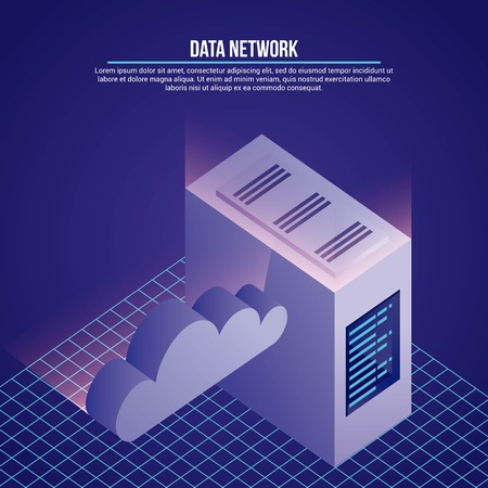 data network cloud safety server base vector illustration
