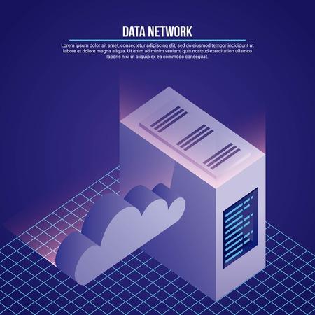 data network cloud safety server base vector illustration