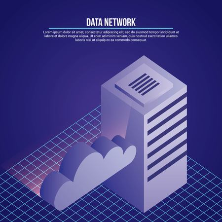 data network database clouds safety security vector illustration