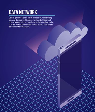 data network cloud smartphone safe vector illustration Иллюстрация
