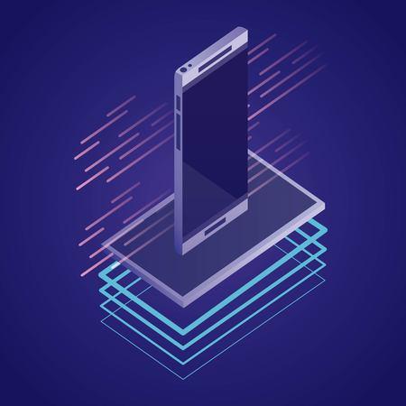 data network smartphone digital technology vector illustration