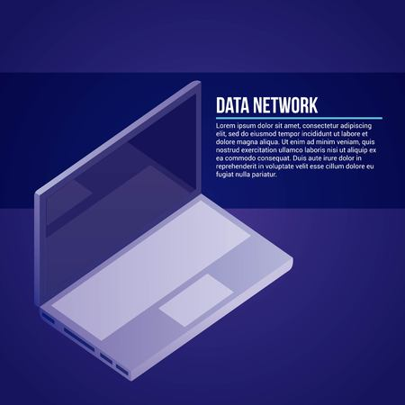 data network computer signs blue background vector illustration