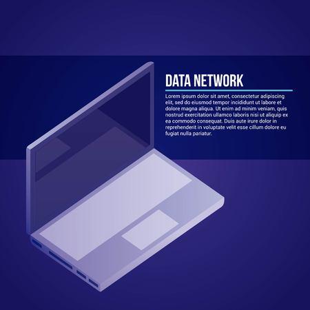 data network computer signs blue background vector illustration