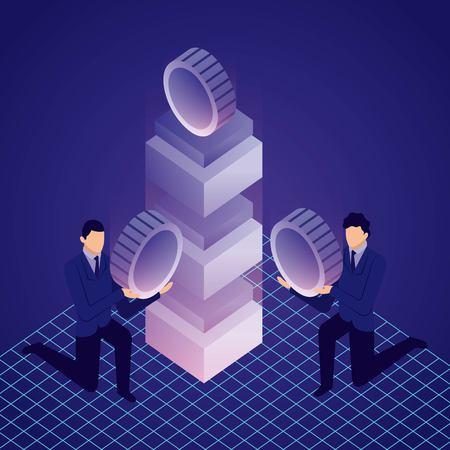 data network businessman holding bitcoins server computer vector illustration