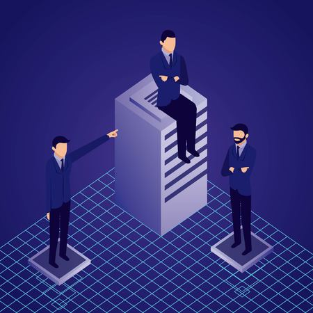 data network businessman dataserver males sitting pointed vector illustration Illustration