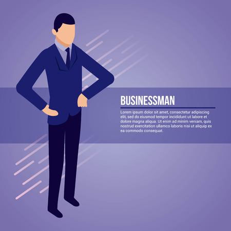 data network businessman male standing hands on the hip vector illustration