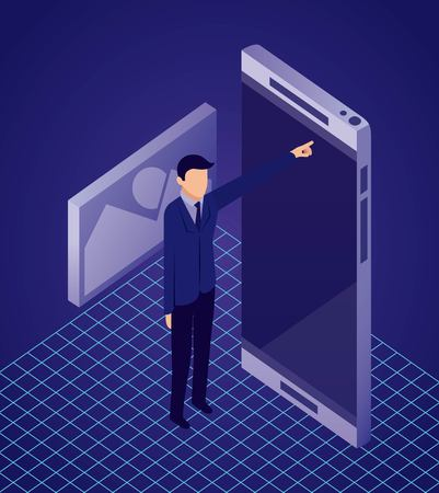 data network businessman pointed smartphone screen photo vector illustration