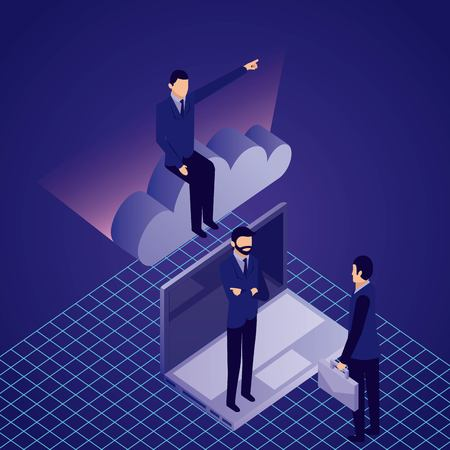 data network businessman males pointed sitting cloud computer vector illustration