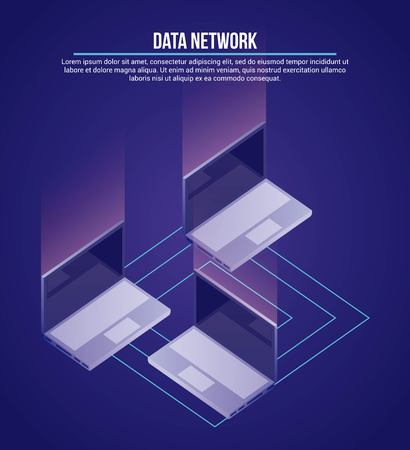 data network computers base information vector illustration