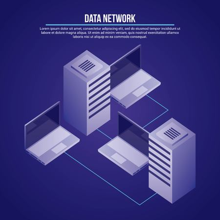 data network computers towers base information vector illustration