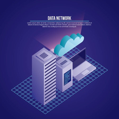 data network tower computer cloud safety security vector illustration
