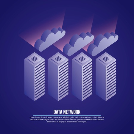 data network clouds towers base safety vector illustration