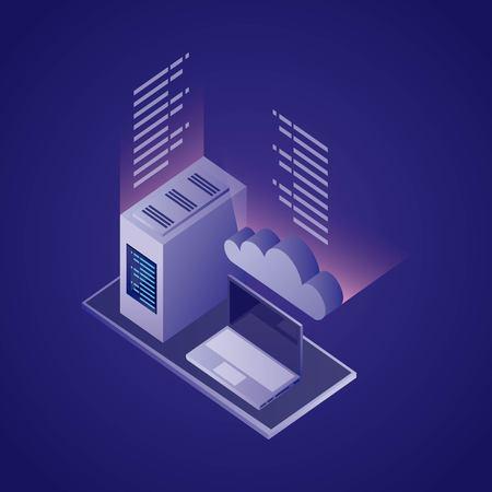 data network information computer tower base vector illustration