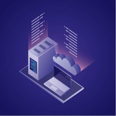 data network cloud safety computer information vector illustration