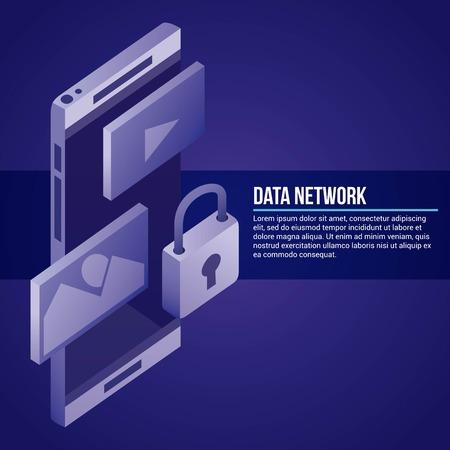 data network smartphone photos videos padlock safety vector illustration