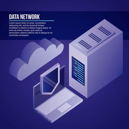 Ilustración de vector seguro de protección de nube de escudo de computadora de red de datos