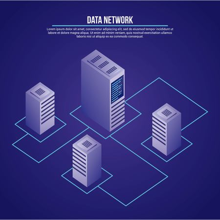 data network towers base connection vector illustration