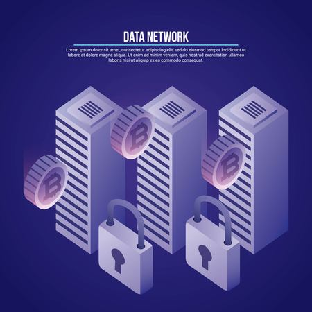 data network padlocks towers base safe protection vector illustration
