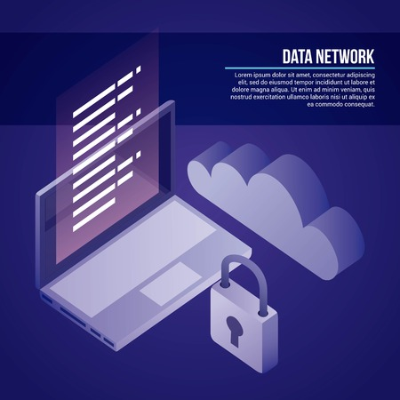 data network computer padlock cloud safe documents information vector illustration  イラスト・ベクター素材